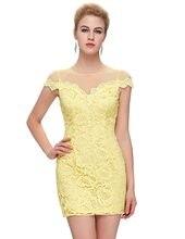 b4358602049 Femmes jaune dentelle robe 2017 été style élégant Cap manches moulante robes  dames mince bal de promo Sexy Club Mini robes