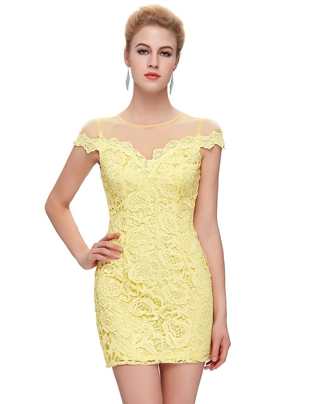 2017 Yellow Lace Dress