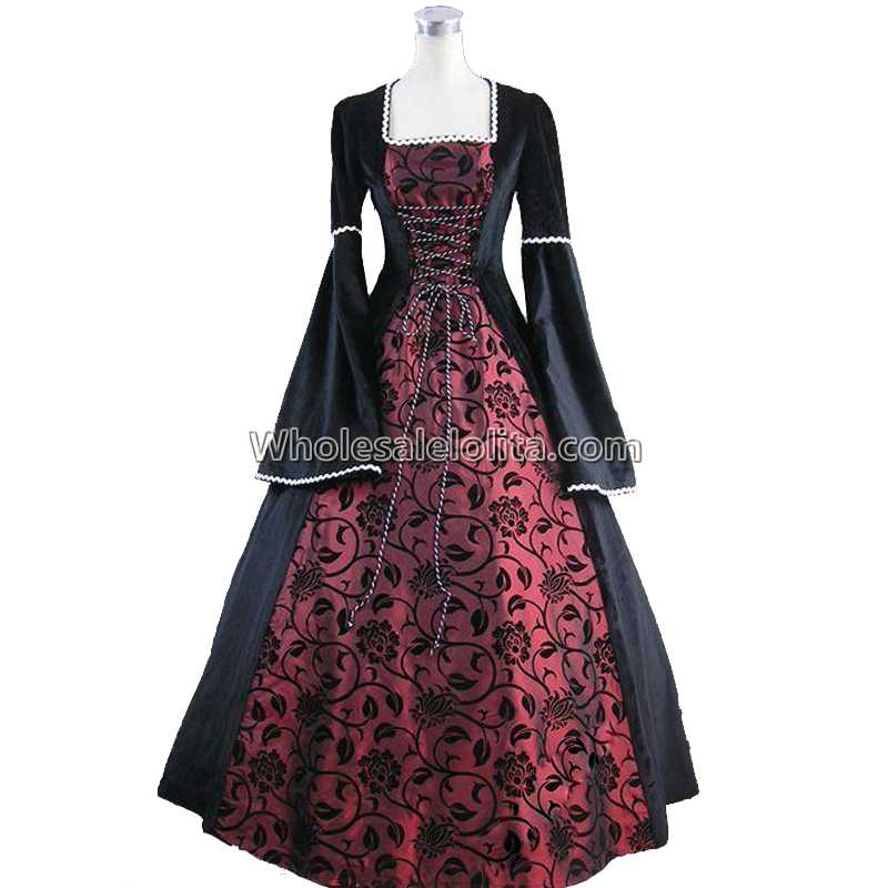 Medieval Renaissance Fair Queen Velvet Brocade Ball Gown Dress Theatrical Cosplay Halloween Costume halloween queen cosplay dress