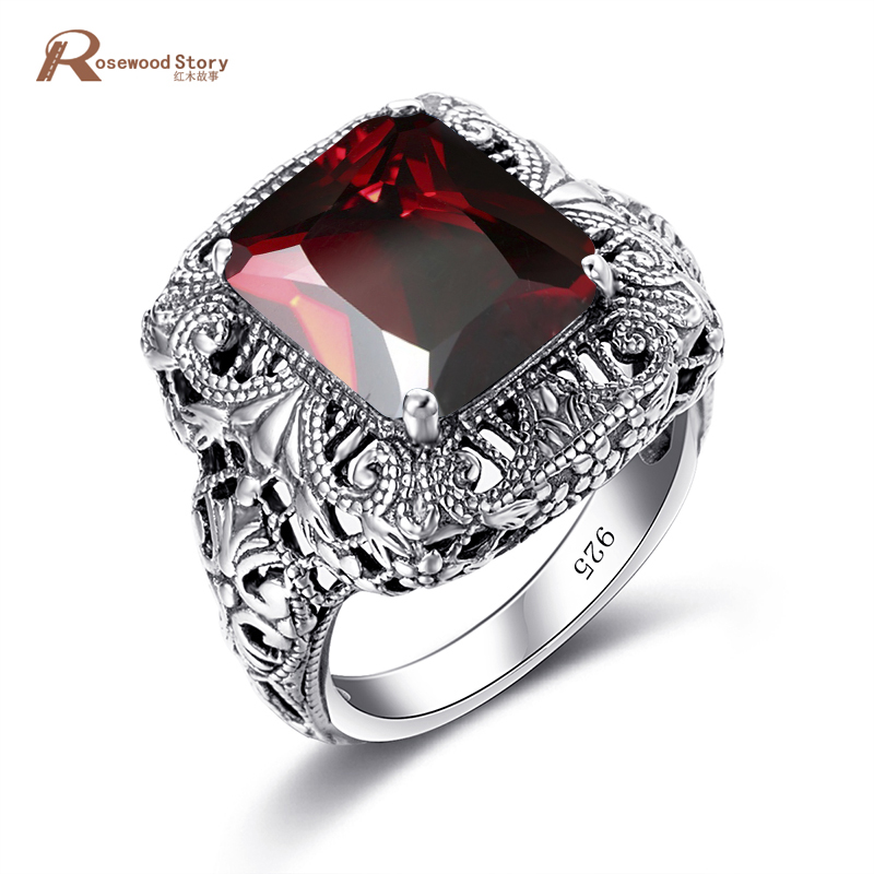 Vintage 925 Sterling Silver Ring for Women Men Created Garnet Stone Hollowed Flower Concave Cut Party Cocktail Ring Fine Jewelry vintage rivet hollowed butterfly ring for women page 7