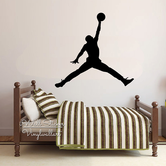 Michael Jordan Wall Decal Jumpman Wall Sticker Basketball Wall Decal  Removable Sports Wall Art Modern Room