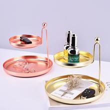 Nordic 2-layer Metal Storage Tray Dessert Gold Fruit Plate Small Items Jewelry Display Mirror Party Decor Organizer