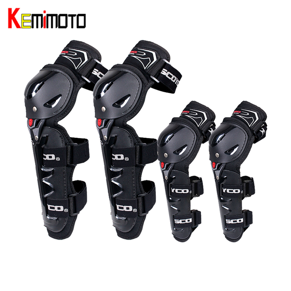KEMiMOTO 4PCS Motorcycle Knee Elbow Pads Protector Motorcycle Riders Protective Equipment Motor Racing Motorcross Guard Safety