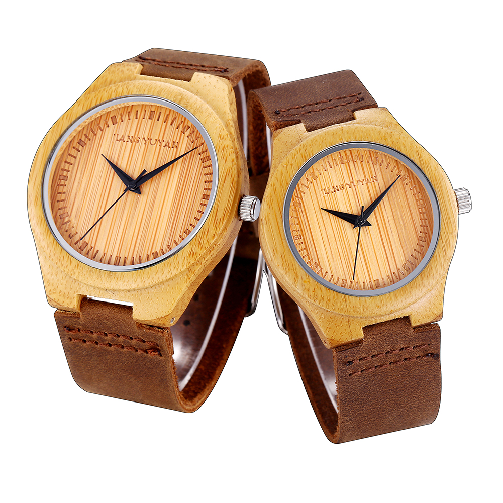 Watch Men  Women's Watches Leather Strap Fashion Wooden Couple Gifts  Bamboo  Quartz  I Love You Clock 3771