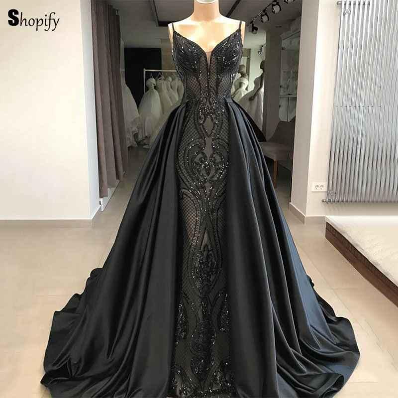 Long Elegant Evening Dress 2018 New Arrival V-neck Lace Saudi Arabia Women  Black Formal ede4e15691de