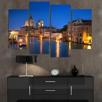 4 Piece Modern Oil Painting Beautiful Venice Night Landscape Picture Canvas Art Wall Decor For Living