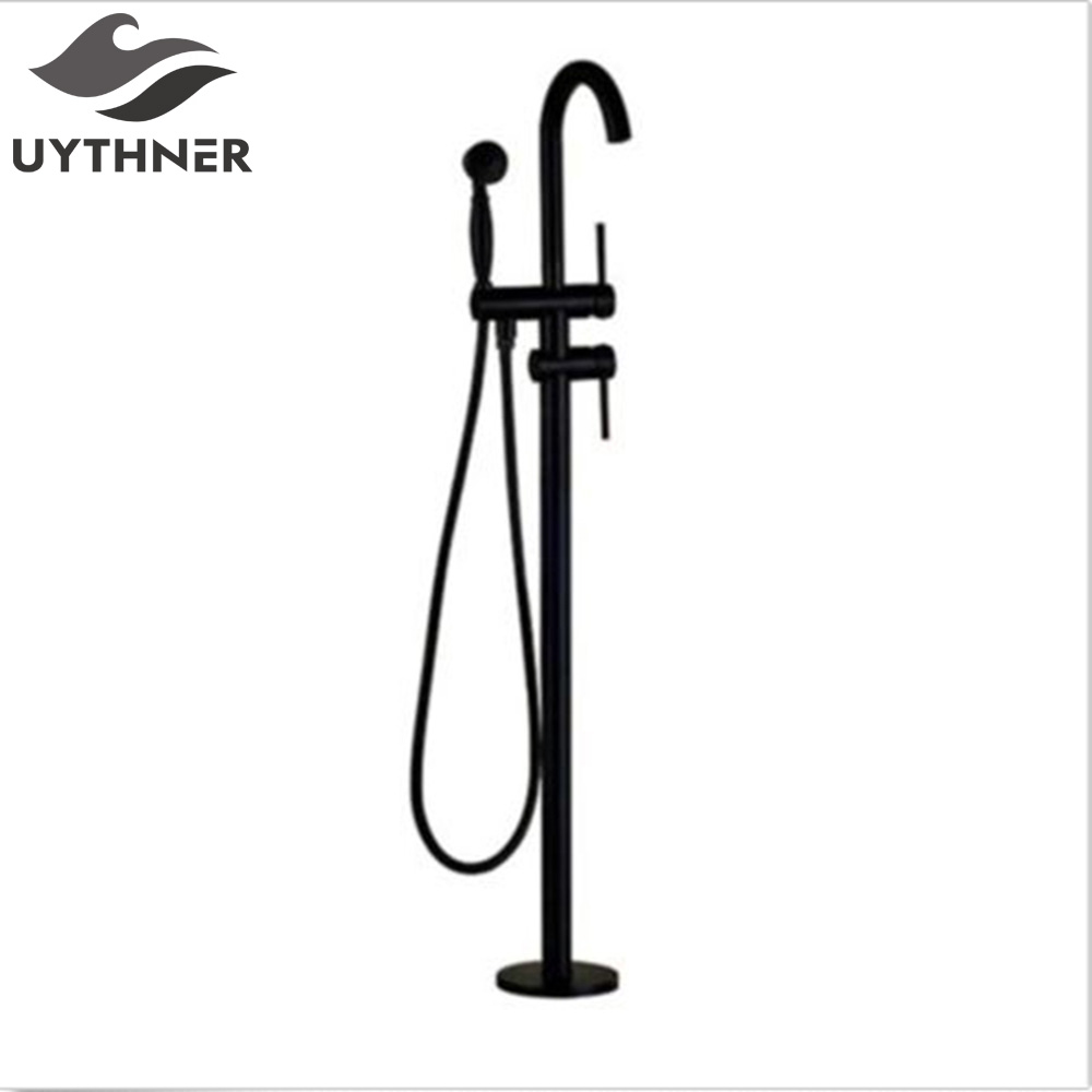 Black Bronze Bathtub Faucet Free Standing Bathroom Tub Sink Mixers 2 Function Water out Switch Floor Mounted Tub Faucets