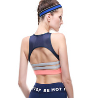 Women Plus Size Sporting Bra Sexy Mesh Fitness Tops Shockproof Padded Workout Push Up Runns