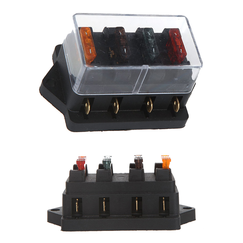 Universal Fuse Holder Car Truck Vehicle 4 Way Circuit Automotive Middle sized Blade Fuse Box Block universal fuse box diagram wiring diagrams for diy car repairs 4 way fuse box at gsmportal.co