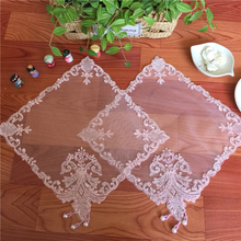 Square 26cm Fashion Mesh Handmade Beaded Embroidered Napkin Placemat Vase Cushion Table Mat Lamp Phone Jewelry Box Cover Towel