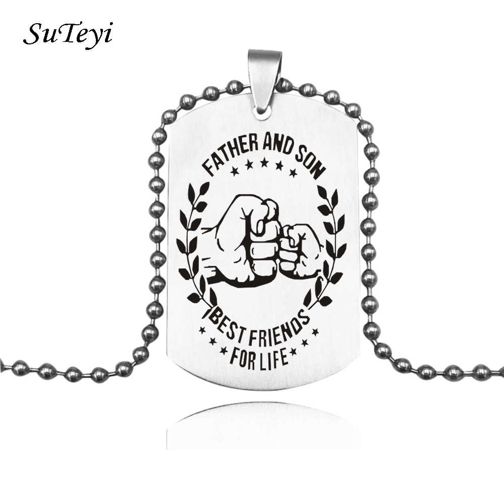 Suteyi Hot Stainless Steel Pendant My Son Tag Father Son Necklace Nameplated Necklace Dog Tag Best Friends For Life Jewelry