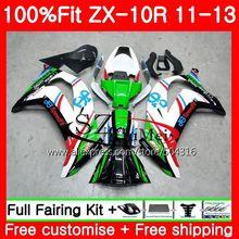 Впрыска для Kawasaki Ninja ZX 10 R ZX10R Белый и зеленый цвета 19sh13 ZX 10R 11 12 13 14 15 ZX-10R 2011 2012 2013 2014 2015 обтекатель комплект