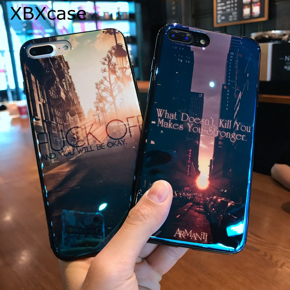 XBXCase <font><b>Blu-Ray</b></font> Laser TPU Silicone Case For iPhone 8 Soft Back Protect Case for iPhone 7 6 6S 8 Plus X 10 Sunset City Building