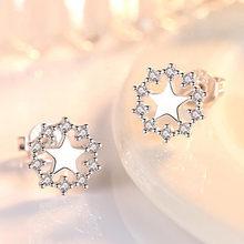 Простые серьги гвоздики с кристаллами для женщин пятиугольная