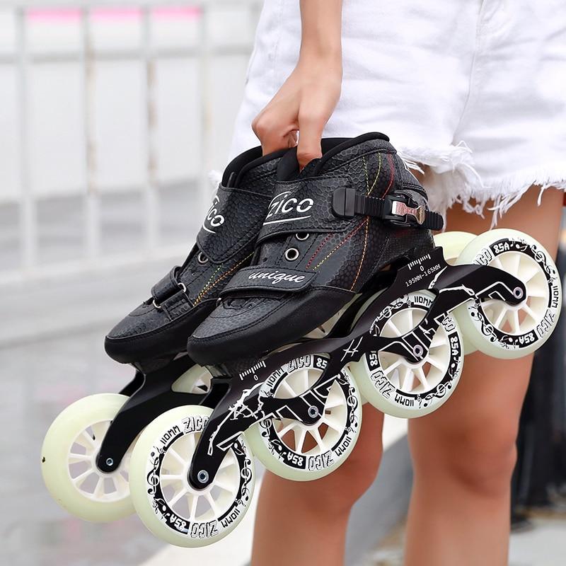 Speed Inline Skates Carbon Fiber 4 90 100 110mm Competition Skates 4 Wheels Street Racing Skating