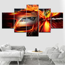 World of Crash and Accidents Car fire 5 Piece Canvas Wallpapers modern Poster Modular art painting for Living Room Home Decor