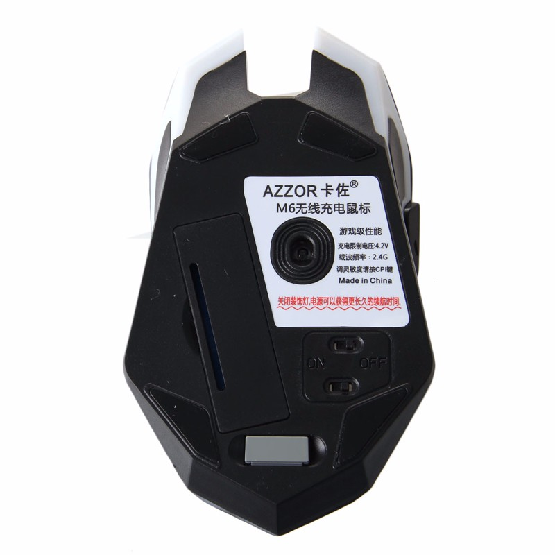 2.4 GHz Wireless Ricaricabile Silenzioso Ergonomico Usb Optical Gaming Mouse AZZOR M6