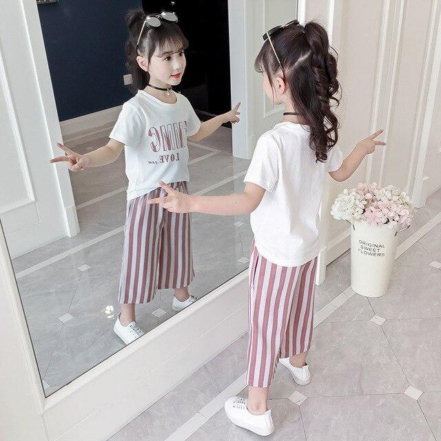 los Angeles moda caliente elige el más nuevo Conjuntos de ropa para niñas 2019 trajes verano Niñas Ropa niños Camiseta  manga corta + Pantalones rayas moda set 4 a 13 años