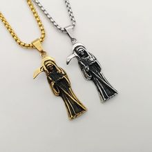 Gothic Jewelry Retro Punk Skeleton Charm Pendant Stainless Steel The Death Grim Reaper Necklace For Men hiphop Necklace CARA0009