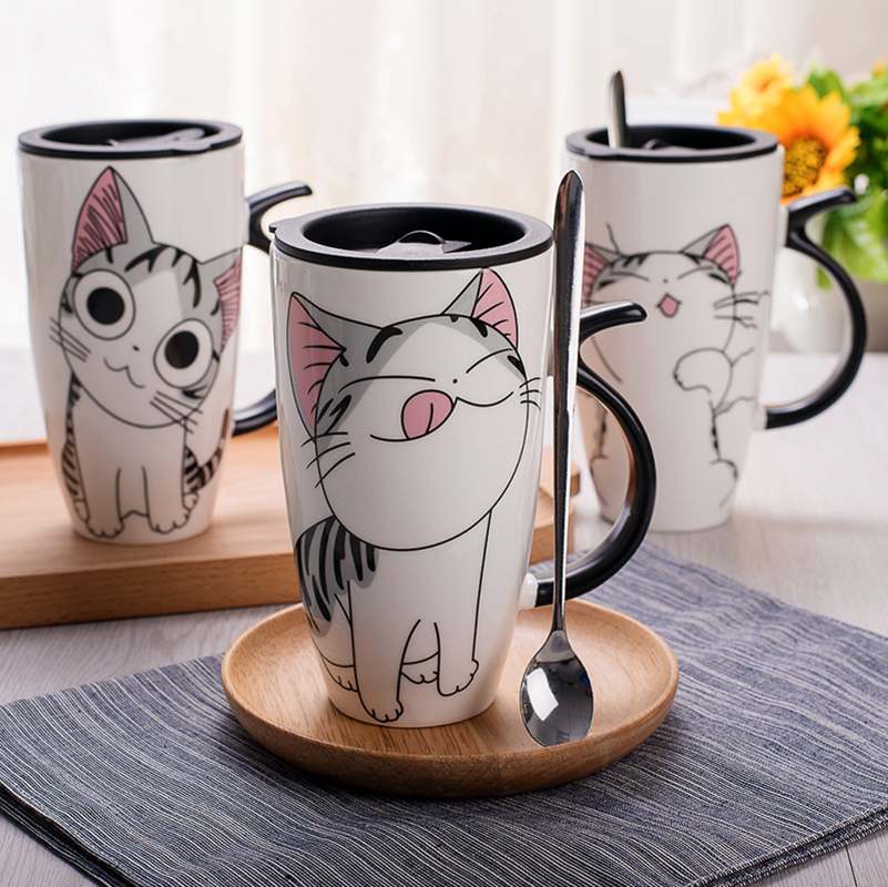 Cute Cat Style Ceramic Mugs with Lid Spoon Cartoon Creative Moring Mug Milk Coffee Tea Unique