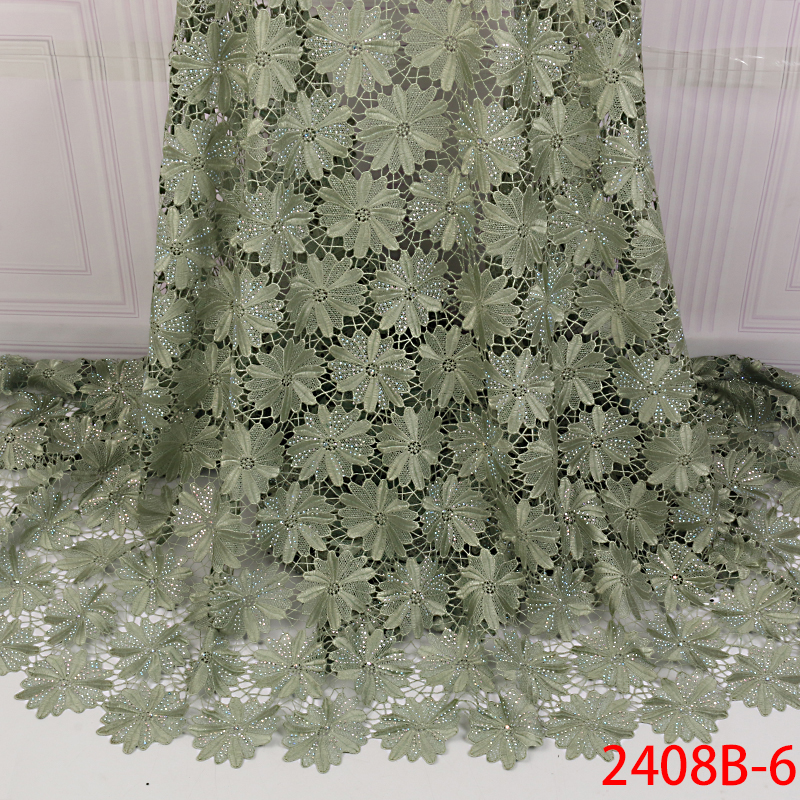 African Laces Fabric High Quality,Nigerian Guipure And Cord Lace Fabric With Stones,Hot Sale French Embroidery Laces KS2408B-6