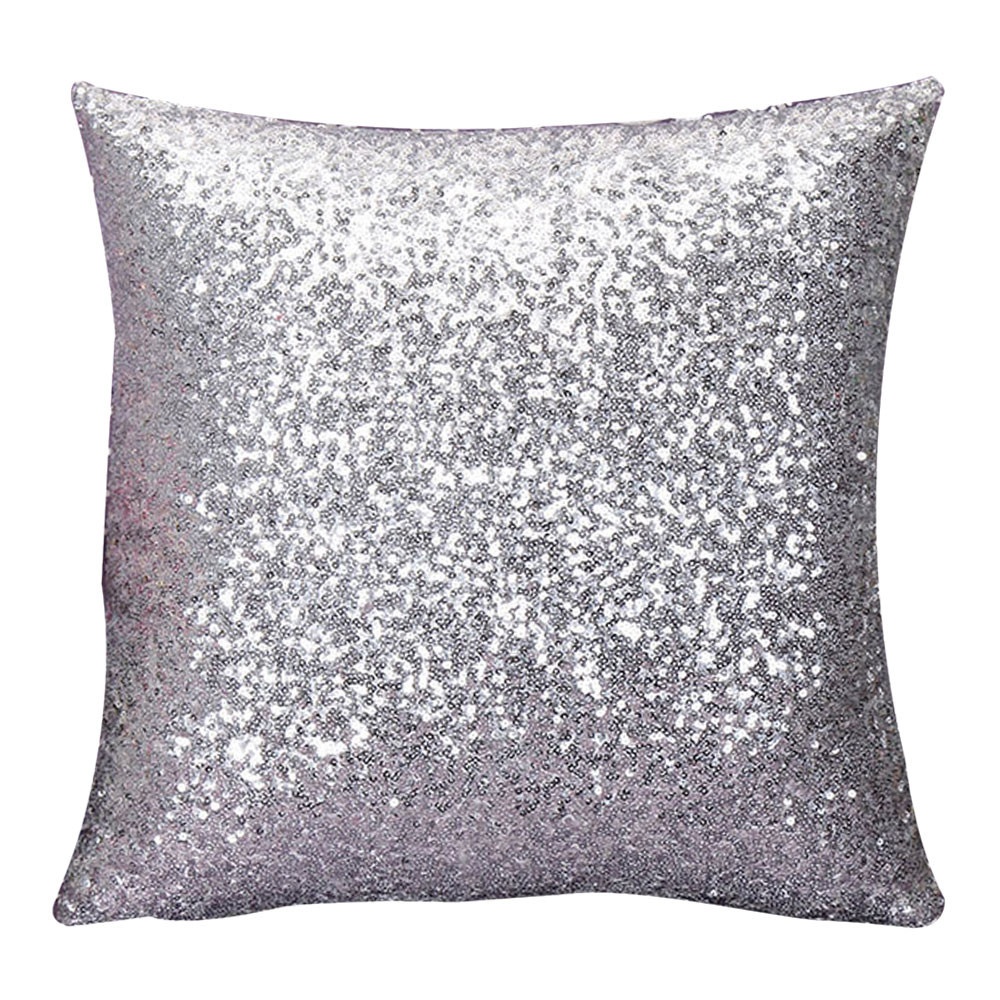 Gajjar Pillowcase Solid Color Glitter Silver Sequins Bling Throw Pillow Case Cafe Home Decor Cushion Cover Decorative 4.oct.21