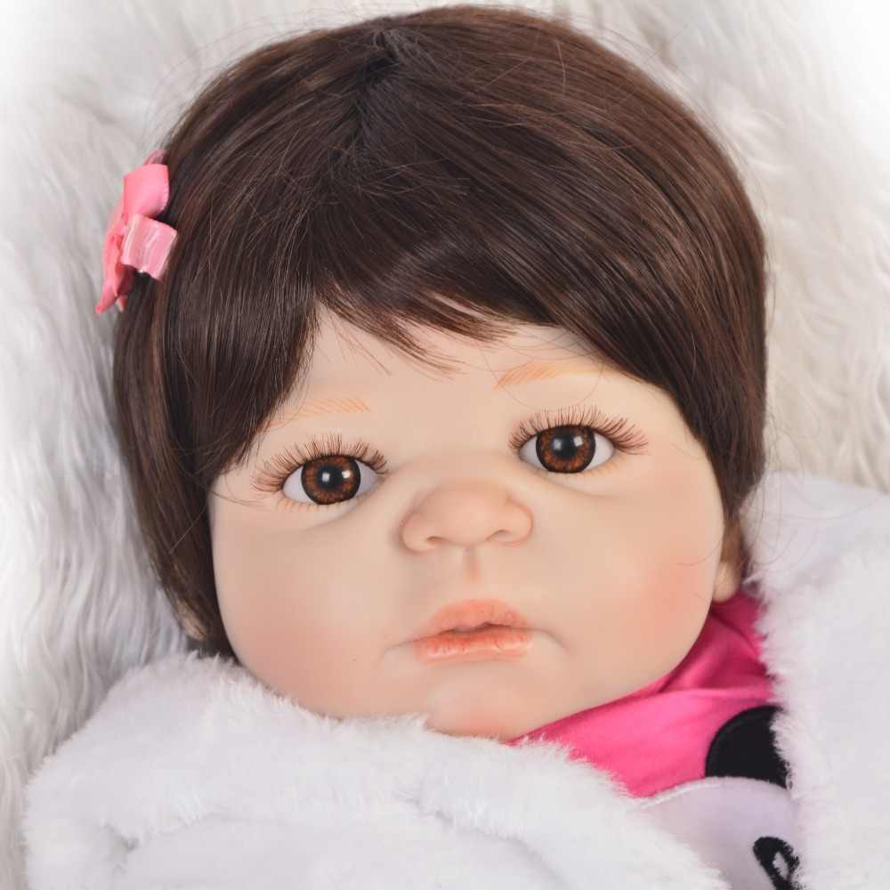 KEIUMI 23 ''Мода Reborn Baby Dolls девочка полное Силиконовое виниловое тело Настоящее прекрасное возрождение Boneca малыш подарок ребенку на день рождения