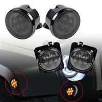 2x Smoke Lens Amber LED Front Turn Signal Light 2x Amber Fender Side Marker Parking Lamp