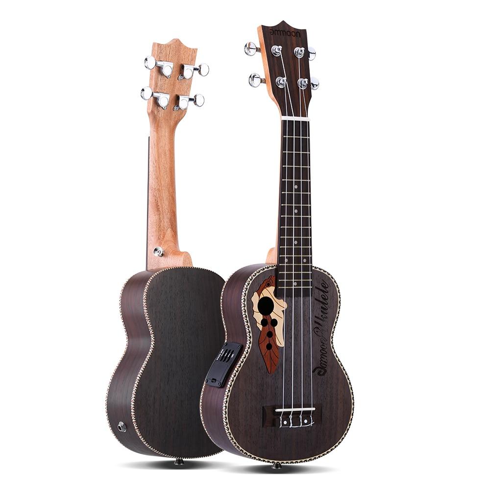 ammoon Ukulele 21 Acoustic Ukelele Spruce Ukulele 4 Strings Guitar Guitarra Instrument with Built in EQ