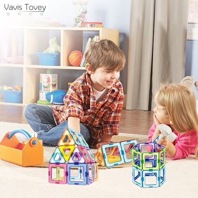 Vavis Tovey Big Building Triangle Square Blocks DIY Designer Enlighten Bricks Magnetic Toys Free Manual Gift