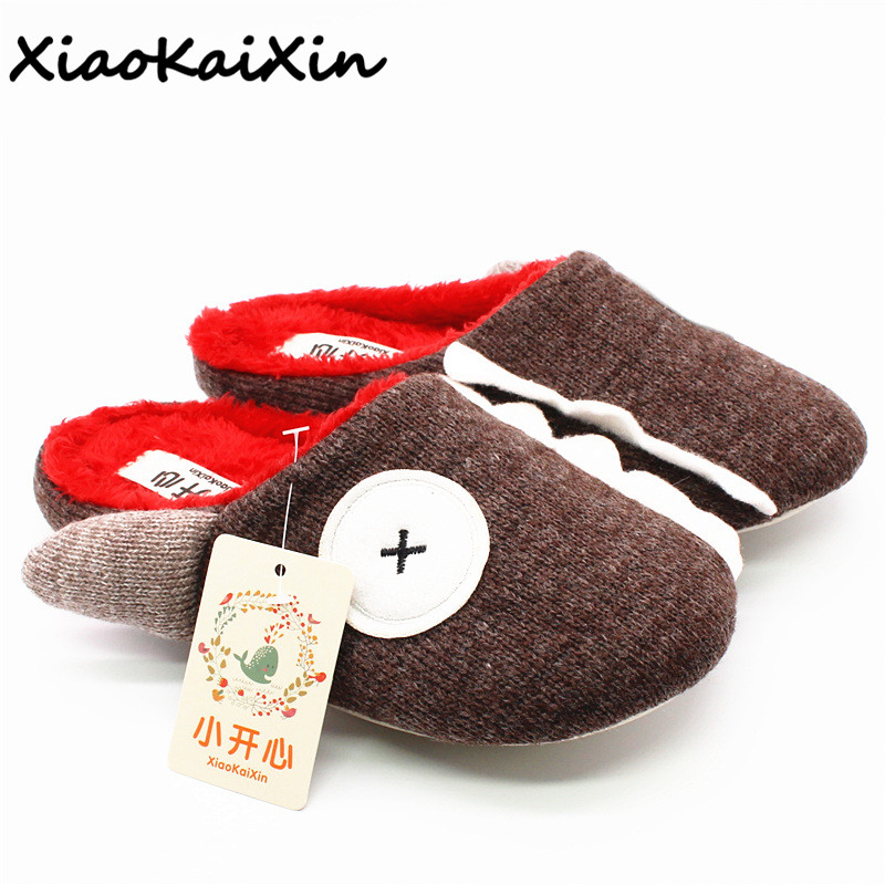 New Fashion Cartoon Slippers Winter Women Warm Knitted Cotton Plush Indoor Non-slip Shoes Home Funny Pirate X eye Shark Slippers plush home slippers women winter indoor shoes couple slippers men waterproof home interior non slip warmth month pu leather
