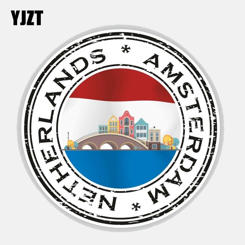 YJZT 12.6CM*12.6CM Car Sticker Netherlands Amsterdam Flag Reflective Decal Accessories 6-2691