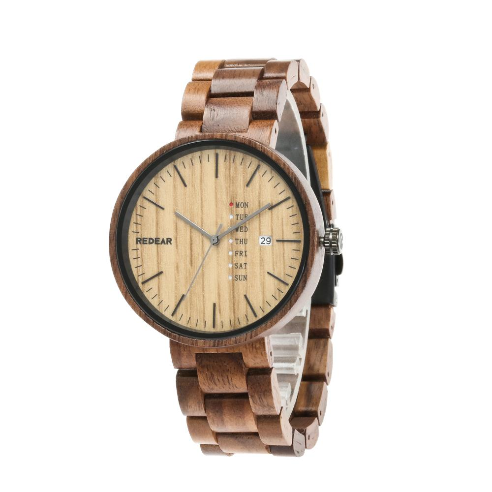 REDEAR Top Brand Wood Watch Walnut Wooden Watches Fashion Auto Date Men's Watch Week Display Wrist watches Clock ereek kol saati цена