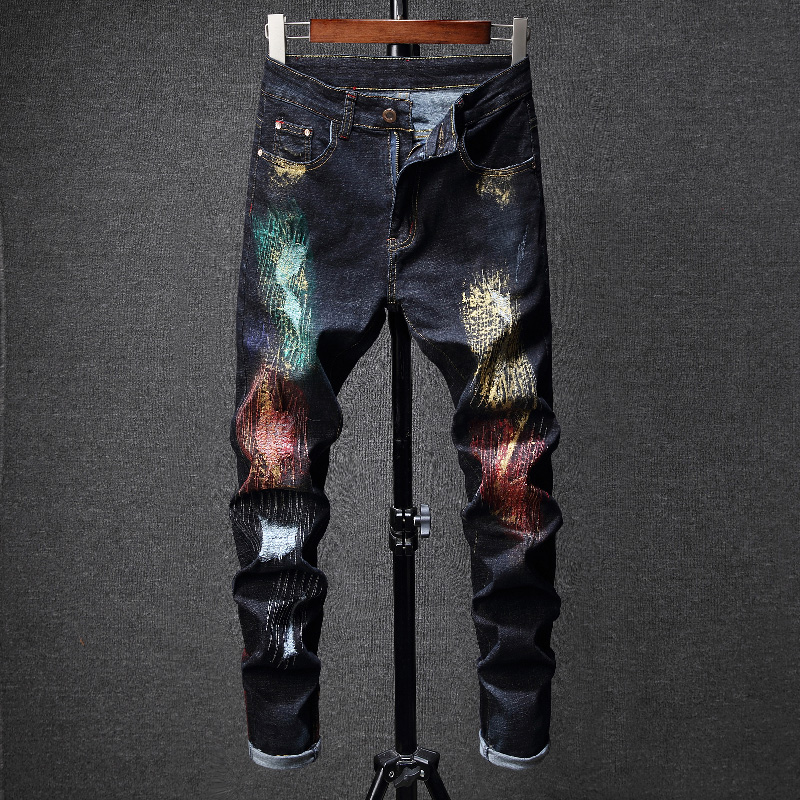 2019 New European Designed Men Fashion Colorful Painted Gold Slim Jeans Graffiti Golden Print Special Man Personal Amazing Jean