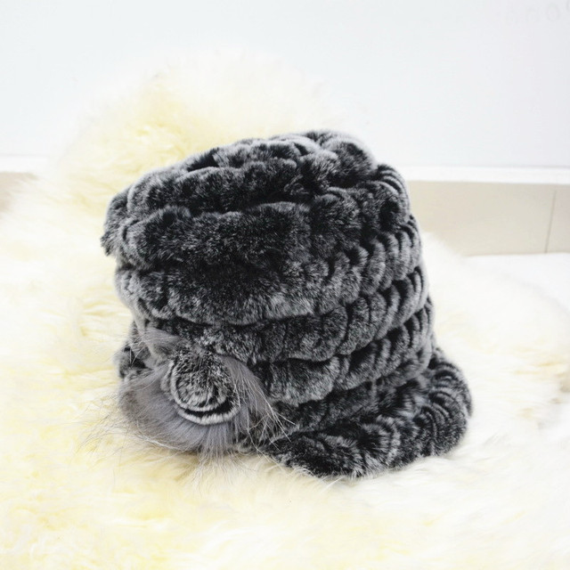 S1596 Wholesale / Retail New Real rex rabbit fur cap winter women fur hat one flower
