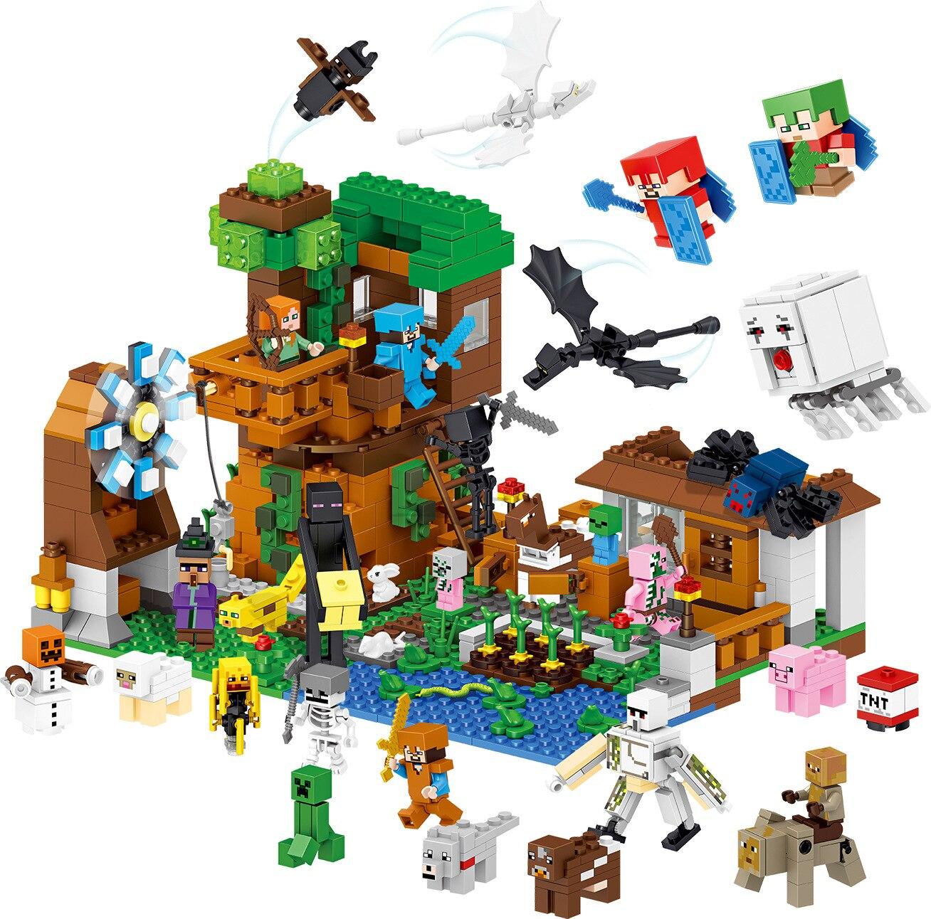 33163 1007pcs My World Luxury Tree House Pet Village Farm Windmill Lele Building Blocks Brick Toy 33068 1516pcs lele my world minecraft the village