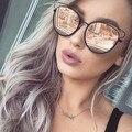 2016 Новая Мода Cat Eye Солнцезащитные Очки Женщины UV400 Оттенки Женщины Покрытие Солнцезащитные Очки Женщины Оригинальный Бренд Очки Металлические Очки Солнцезащитные