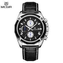 Megir Мужчины Смотреть 2015 Эксклюзивная Модная Спорт Кварцевые Часы Хронограф Наручные Часы Из Натуральной Кожи Часы Мужчины Relogio Masculino