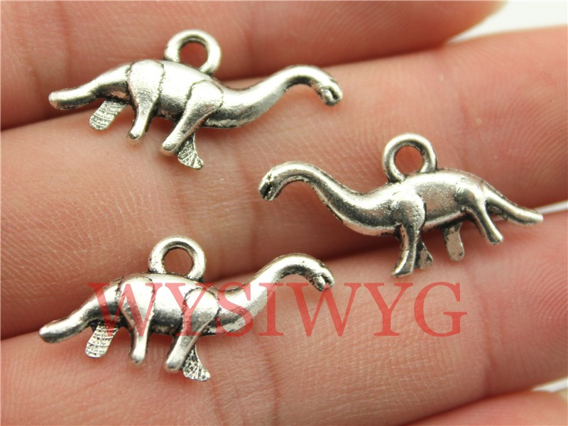 WYSIWYG 10pcs 27*12mm Antique Silver Vegetarian Dinosaurs Charms