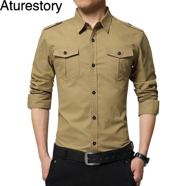ac9f4036a2136 Aturestory Homens Camisa de Manga Longa Blusas Masculinas Militar Safari Estilo  Camisas de Algodão Com Decote