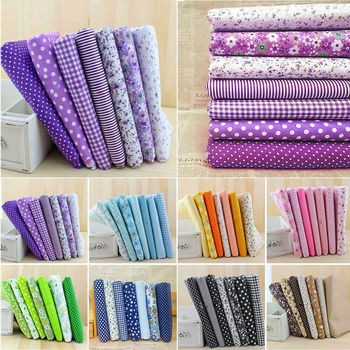 7Pcs 25*25cm Colourful Cotton Fabric Cloth Sewing Patchwork Assorted Pre Cut Fat Quarters Bundle DIY Handmade Craft Material