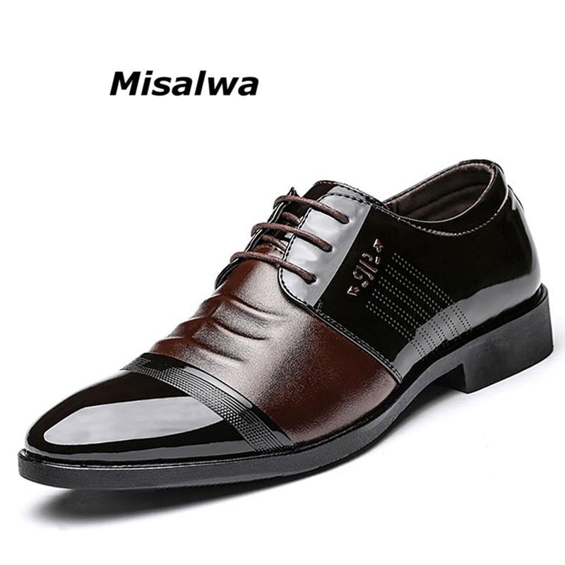 Misalwa 2018 Classique Hommes Robe Chaussures Noir En Cuir Verni De Mariage D'affaires Oxford Pour Les Hommes British Style Dentelle-Up Homme chaussures