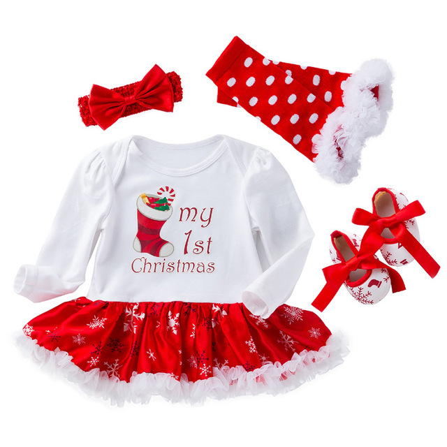 5b7f4197039e18 Infant Newborn Baby Rompers Christmas Snowflake Romper Suit Cotton Long  Sleeve 0-2 Years Baby Dress 4pcs Baby Clothing Set
