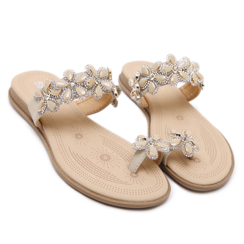 Color 2017 Piso Comfort Siketu Zapatos Verano Plana Mujer Sandalias Llegada Flor Bohemia negro Moda Rhinestone Nueva Apricot Playa AqwEpa