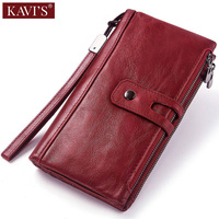 KAVIS Genuine Leather Women Wallet Female Coin Purse Walet Portomonee Clamp For Money Bag Card Cell Phone Holder Handy Perse and
