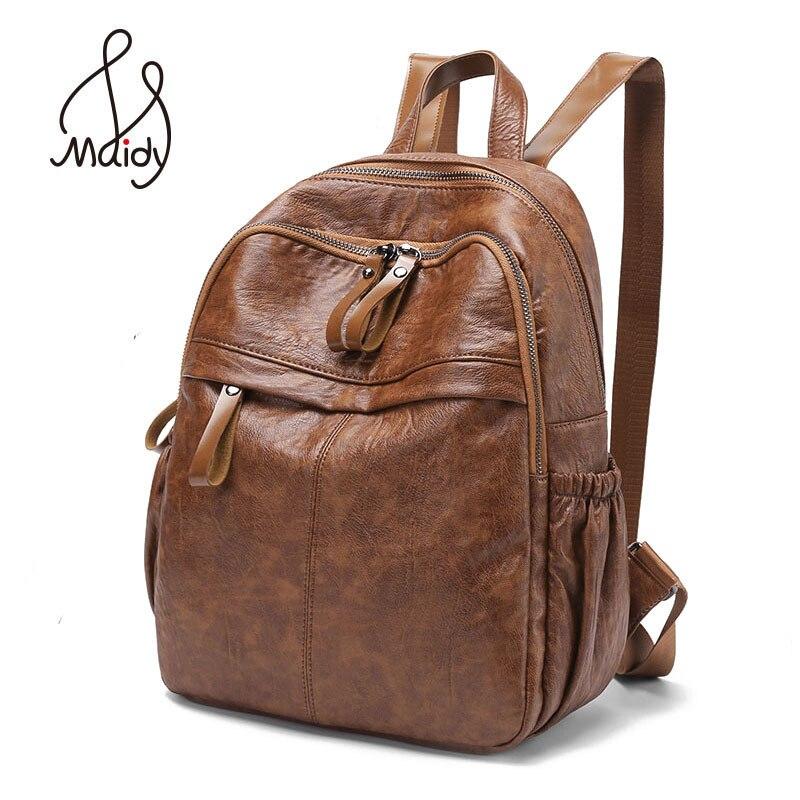 Vintage femme marron sac à dos pour ordinateur portable en cuir Zipper femmes Mochila sacs d'école adolescents Preppy ordinateur portable grand sac à bandoulière noir