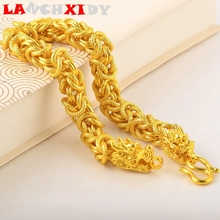 LANCHXIDY 10mm Classic Men Bracelet Dragon Shape Plated Gold Women Charm Golden Thick Bracelets Vintage Noble Male Jewelry Gift