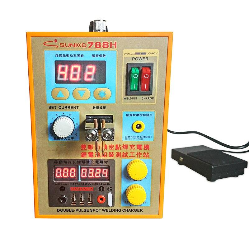 Tools : SUNKKO 788H Pulse Spot Welding Machine 1 5kw Spot Welder LED light Lithium Battery Test USB Charging for 18650 Battery Pack Weld