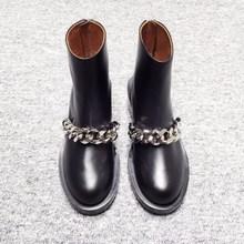 купить Fashion Luxury Martin Boots Women's Gold Silver Metal Chain Black Joker Leather Ankle Boots Back Zipper and Ankle Boots Women's дешево