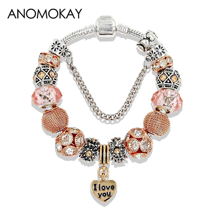 ANOMOKAY Gold Tone Heart Bead Pandora Bracelets & Bangles Fashion Crystal Charm Bracelets DIY Jewelry Bracelet for Women Gift